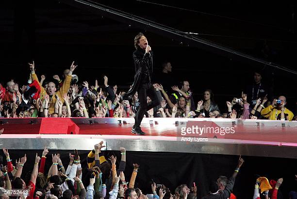 Lead singer Mick Jagger and The Rolling Stones perform during the 'Sprint Super Bowl XL Halftime Show' at Super Bowl XL between the Seattle Seahawks...