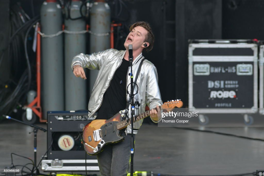 Lead singer Nick Wold of Dreamers perform at the 93.3 Modern rock music festival 'Big Gig' at Fiddler's Green Amphitheatre on August 12, 2017 in Englewood, Colorado.