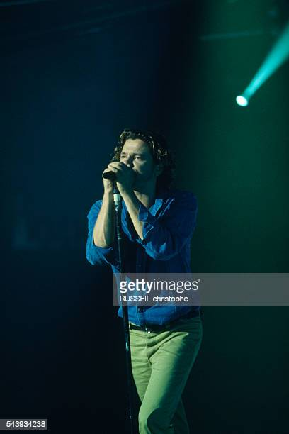 """Lead singer of Australian rock band INXS Michael Hutchence performs on television show """"Taratata"""", on French television channel France 2."""
