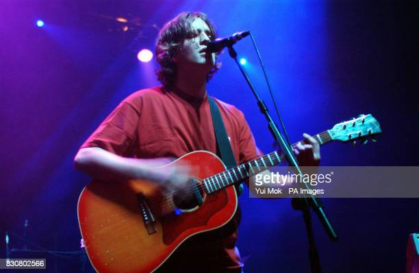 Lead singer of C James Walsh performing on stage at The Astoria in central London as part of the NME Carling Awards Shows