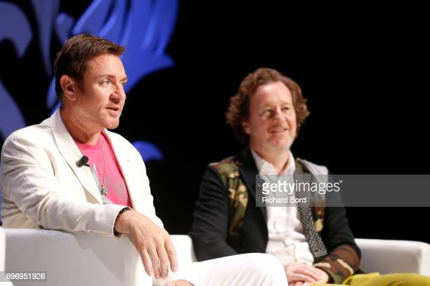 Lead Singer of Duran Duran and Syn Music Cofounder Simon Le Bon and CEO and Creative Director of Syn Music Nick Wood speak during the 'Beyond An...