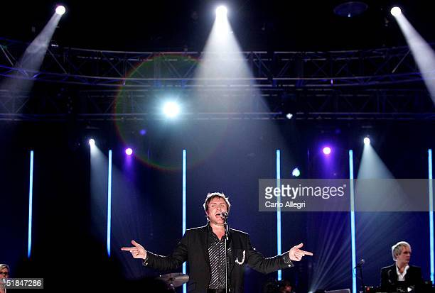 Lead singer of Duran Duran Simon Le Bon performs onstage during a concert taped for a VH1 special December 5 2004 in Los Angeles California