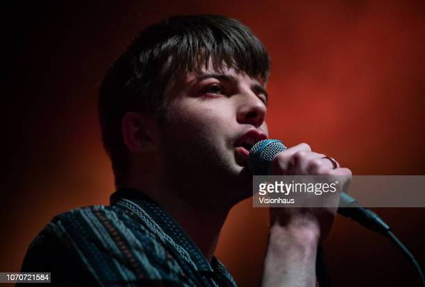Lead singer of Fontaines DC, Grian Chatten performs with the band as support to Shame at The Stylus, Leeds University Union on November 20, 2018 in...