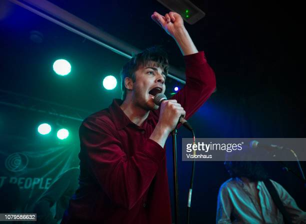 Lead singer of Fontaines DC Grian Chatten performs with the band at Night People on December 7, 2018 in Manchester, United Kingdom.