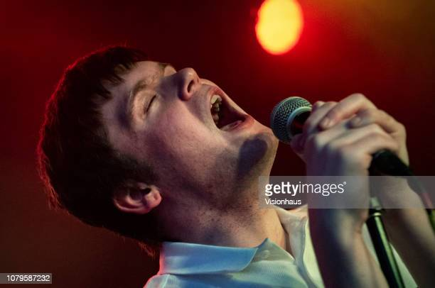 Lead singer of Hotel Lux Lewis Duffin performs with the band as support to Fontaines DC at Night People on December 7, 2018 in Manchester, United...