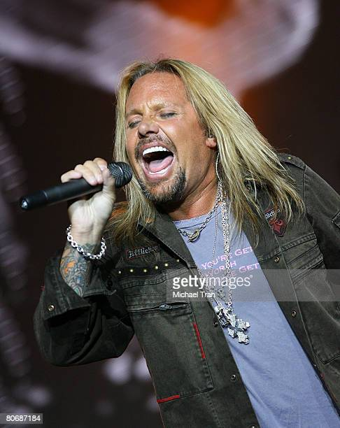 Lead singer of Motley Crue Vince Neil performs on stage at the press conference announcing Crue Fest 2008 The Summer's Loudest Show on Earth held at...