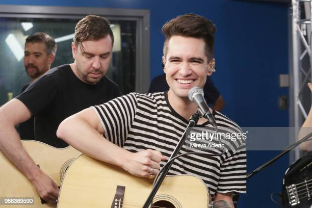 Lead singer of Panic at the Disco Brendon Urie performs during sound check at SiriusXM Studios on June 28 2018 in New York City