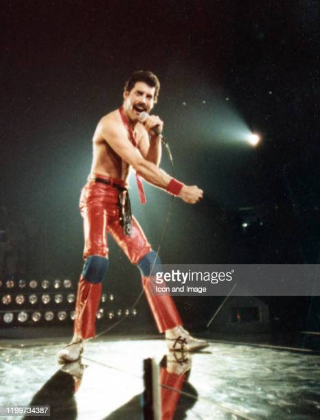 Lead singer of Queen, Freddie Mercury , performs onstage during The Game Tour at Joe Louis Arena, September 20 in Detroit, Michigan.