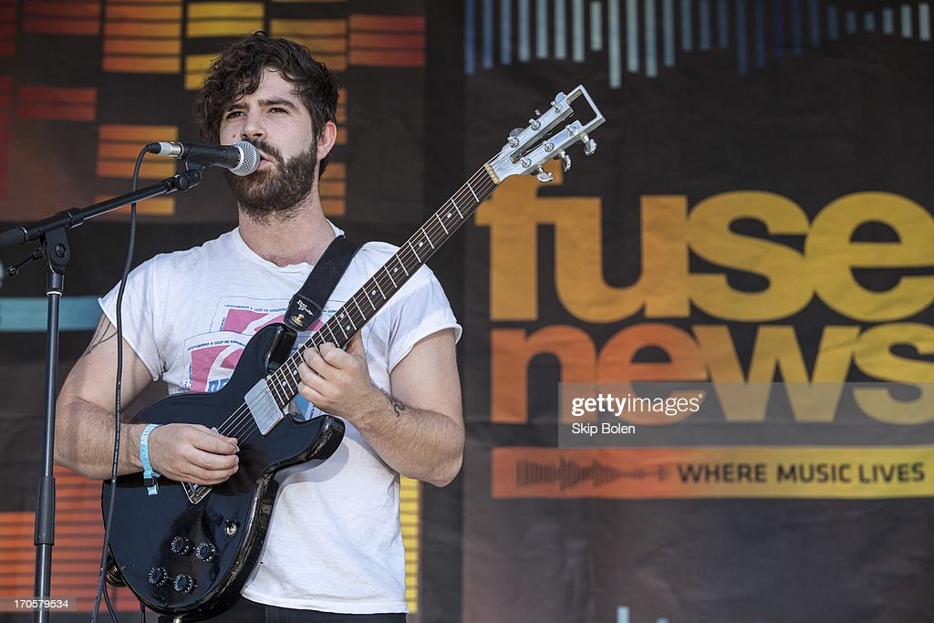Lead singer of the indie rock band Foals, Yannis Philippakis performs during the 2013 Bonnaroo Music & Arts Festival on June 14, 2013 in Manchester, Tennessee.