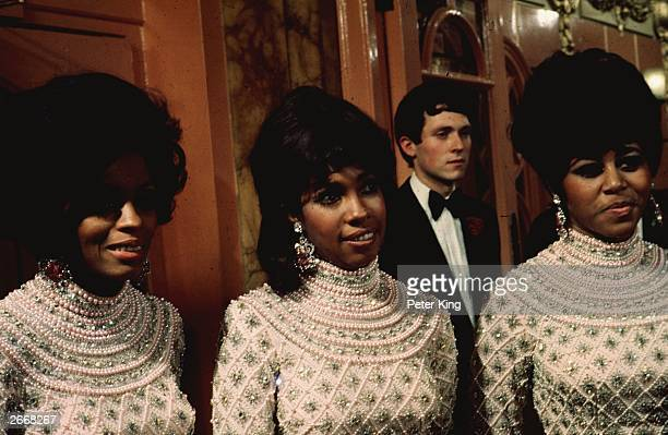 Lead singer of the Motown trio 'The Supremes' Diana Ross with Mary Wilson and Cindy Birdsong at the Royal Variety Performance in London