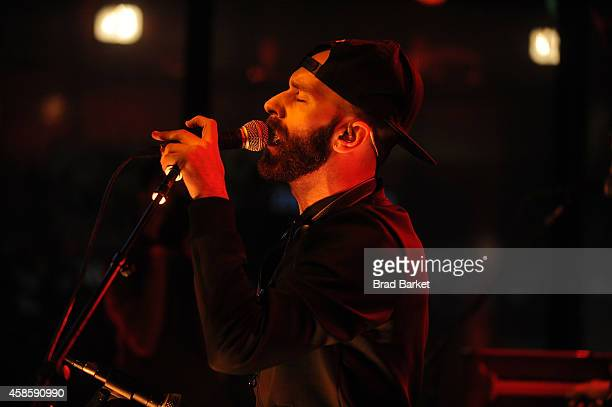 Lead Singer of the music group X Ambassadors Sam Harris perfrorms at The MLB Fan Cave Concert Series at the MLB Fan Cave on November 7 2014 in New...