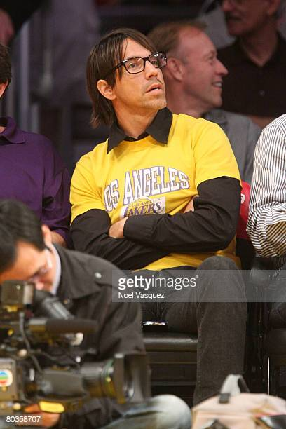 Lead singer of the Red Hot Chili Peppers Anthony Kiedis attends the Los Angeles Lakers game against the Golden State Warriors at the Staples Center...