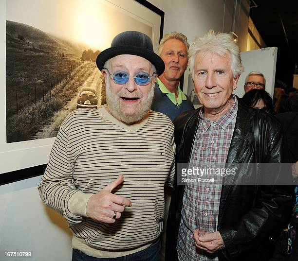 Lead singer of the Turtles Howard Kaylan and musician and photographer Graham Nash attend the Graham Nash Photo Exhibit Opening at the Morrison Hotel...
