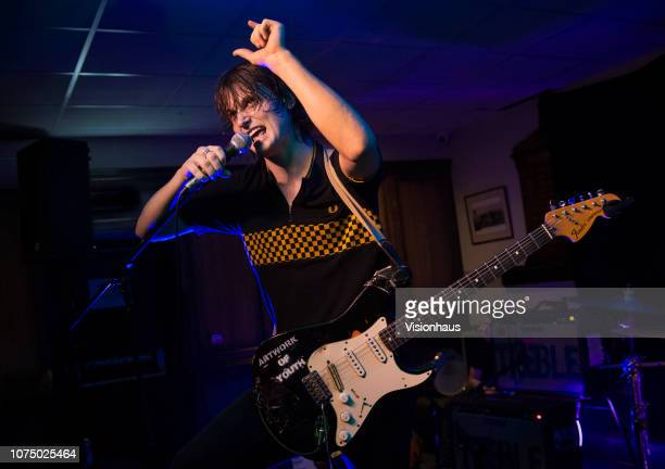 Lead singer of Trampolene Jack Jones performs with the band in the Games Room at the Brudenell Social Club for This Feeling on November 29 2018 in...