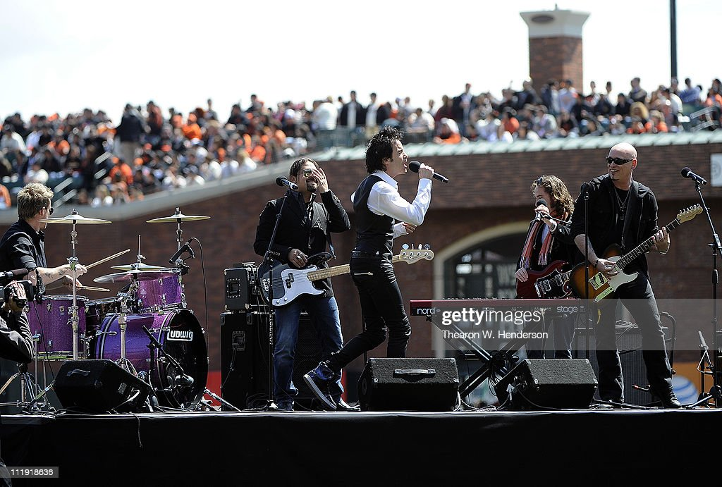 Lead singer Pat Monahan of 'Train' from San Francisco performs prior to the start of the San Francisco Giants home opener against the St. Louis Cardinals at AT&T Park April 8, 2011 in San Francisco, California.