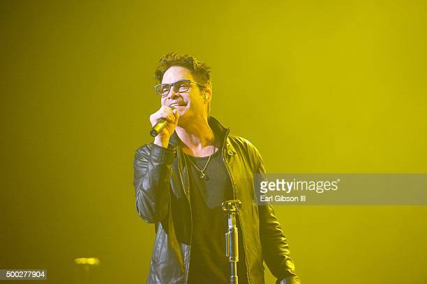 Lead Singer Patrick Monahan performs with the band Train at KOST 1035 Christmas Land at Microsoft Theater on December 6 2015 in Los Angeles California