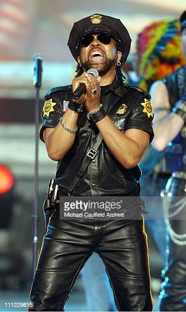 Lead singer Ray Simpson performing with a nonoriginal lineup of disco group Village People on stage at the taping of the American Bandstand's 50th A...