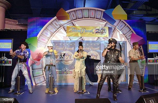 Lead singer Ray Simpson performing with a nonoriginal lineup of disco group Village People during an event celebrating the release of the 20th...