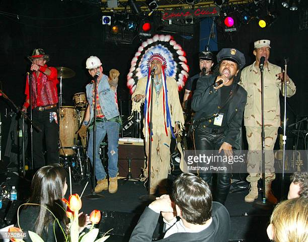 Lead singer Ray Simpson performing with a nonoriginal lineup of disco group Village People at the We Are Family Benefit Concert Awards at The China...