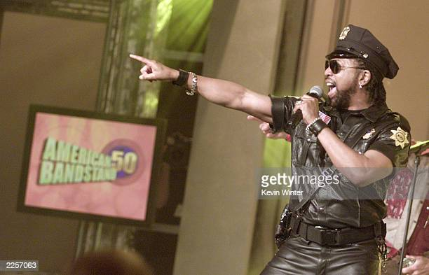 Lead singer Ray Simpson performing with a nonoriginal lineup of disco group Village People at the taping of American Bandstand's 50thA Celebration at...