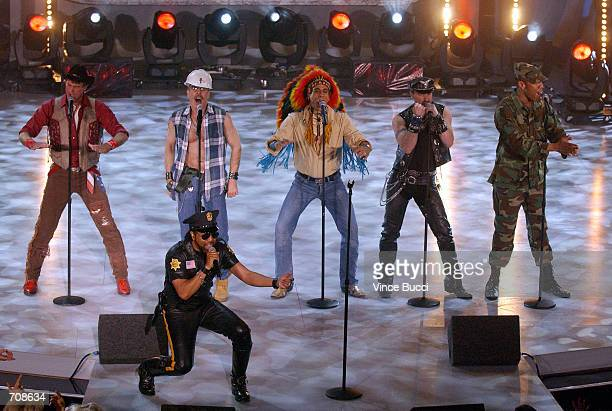 Lead singer Ray Simpson performing with a nonoriginal lineup of disco group Village People at the taping of American Bandstands 50thA Celebration...