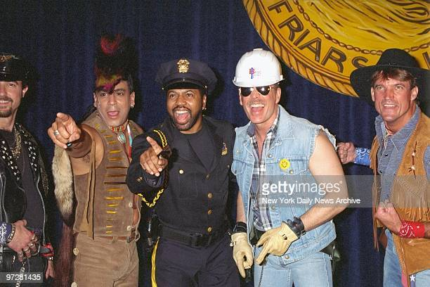 Lead singer Ray Simpson performing with a nonoriginal lineup of disco group Village People at Friars Club dinner at the WaldorfAstoria honoring John...