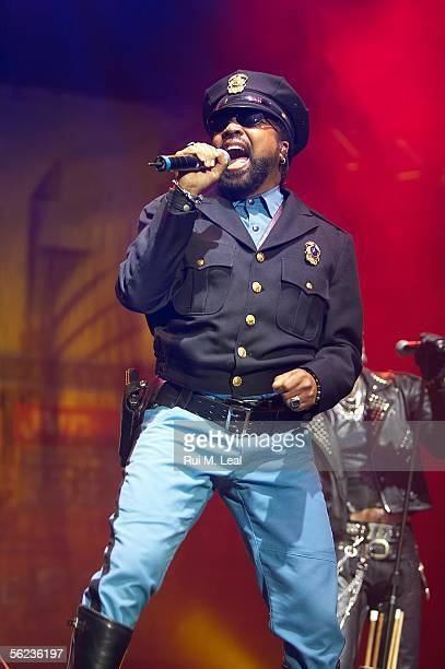 Lead singer Ray Simpson performing with the 2005 lineup of disco group Village People at the Atlantic Pavilion November 18 2005 in Lisbon Portugal