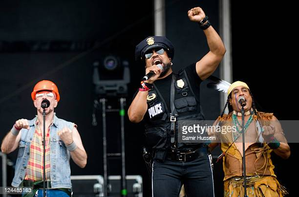Lead singer Ray Simpson performing with the 2011 lineup of disco group Village People on the main stage on day 3 of Bestival at Robin Hill Country...