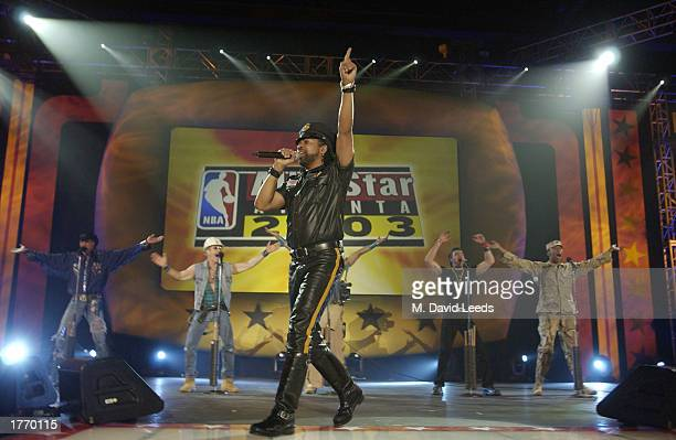 Lead singer Ray Simpson performs Macho Man with a nonoriginal lineup of disco group Village People at Center Court during the Welcoming Party for the...