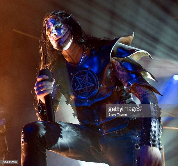 Lead singer Shagrath performs on stage at the O2 Academy on February 12, 2009 in Birmingham.