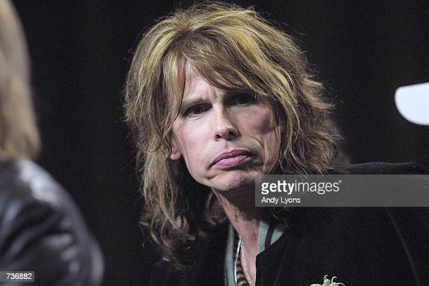 Lead singer Steve Tyler from the rock band Aerosmith listens to a question from the media during a press conference for performers in the 2001 Super...