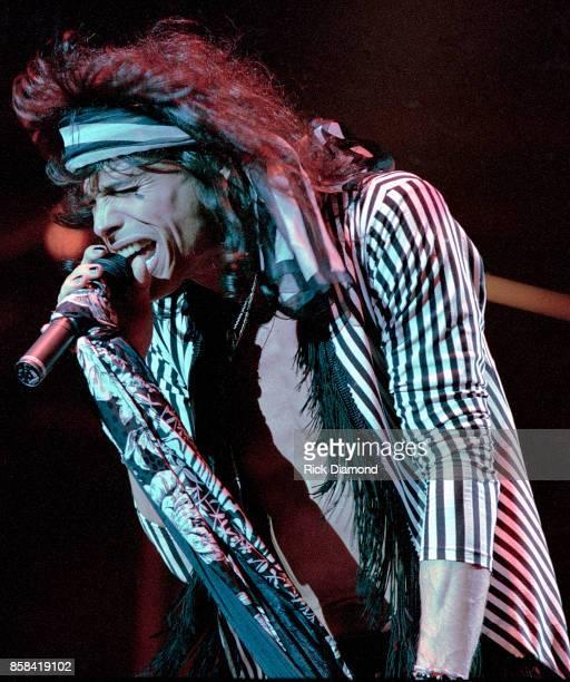 Lead Singer Steven Tyler of Aerosmith performs at The OMNI Coliseum in Atlanta Georgia May 05, 1990