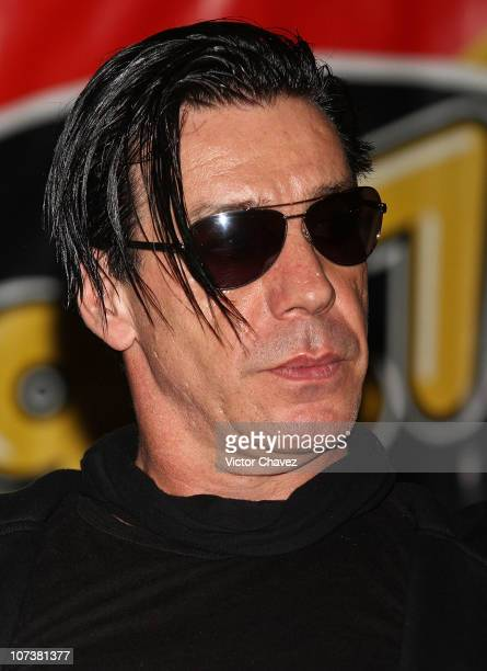 Lead singer Till Lindemann of Rammstein promotes the album 'Liebe Ist Fur Alle Da' at Salon Vive Cuervo on December 7 2010 in Mexico City Mexico