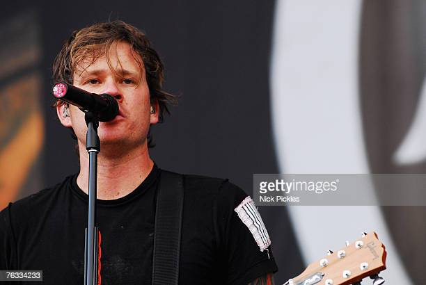 Lead singer Tom DeLonge of Angels and Airwaves performs at Leeds Festival on Day 3 of the Leeds Festival on August 26 2007 in Leeds England
