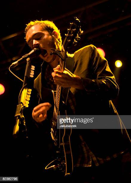 Lead singer Tom Smith of the British Indie Rock band 'The Editors' performs live during a concert at the Zitadelle Spandau on August 16 2008 in...