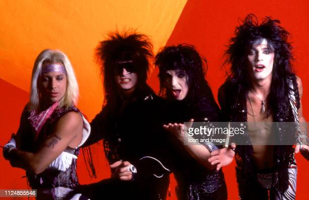 Lead singer Vince Neil bassist Nikki Sixx lead guitarist Mick Mars and drummer Tommy Lee of the American hard rock band Motley Crue pose for a studio...