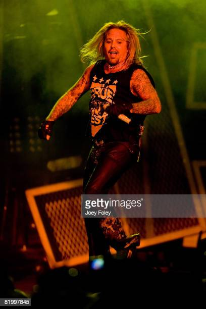 Lead singer Vince Neil of the rock band Motley Crue performs live during Crue Fest 2008 at the Verizon Wireless Music Center on July 18 2008 in...