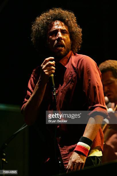 """Lead singer Zack de la Rocha of the band Rage Against the Machine performs on stage at the """"Rock The Bells"""" tour on Randall's Island on July 28, 2007..."""