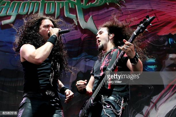 Lead singer ZP Theart and Guitarist Frederic Leclercq of Dragonforce performs during the Rockstar Energy Mayhem Festival at the Verizon Wireless...