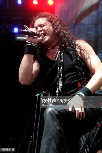 Lead singer ZP Theart of Dragonforce performs during the Rockstar Energy Mayhem Festival at the Verizon Wireless Amphitheater on July 26 2008 in San...