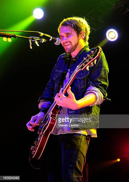 Lead singer/guitarist Brian Aubert of Silversun Pickups performs at The Joint inside the Hard Rock Hotel Casino on September 14 2012 in Las Vegas...
