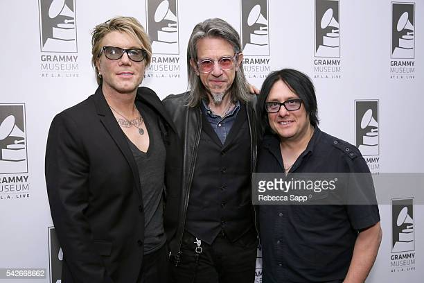 Lead singer/guitarist John Rzeznik Vice President of the GRAMMY Foundation Scott Goldman and bassist Robby Tabac of the Goo Goo Dolls attend The Drop...