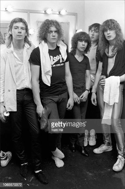 Steve Clark Rick Allen Pete Willis Joe Elliott and Rick Savage of Def Leppard are photographed after performing at The Fox Theater on September 4...