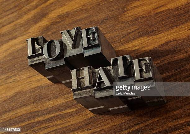 """Lead type spelling """"""""love"""""""" and """"""""hate"""""""""""