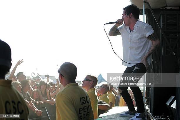 Lead Vocalist Alex Koehler of Chelsea Grin performs at the 2012 Vans Warped Tour on June 16 2012 in Salt Lake City Utah