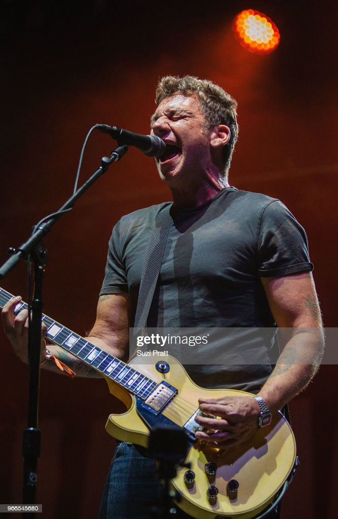 Lead vocalist and guitarist Blake Schwarzenbach of Jawbreaker performs live on stage at Upstream Music Festival in Pioneer Square on June 2, 2018 in Seattle, Washington.