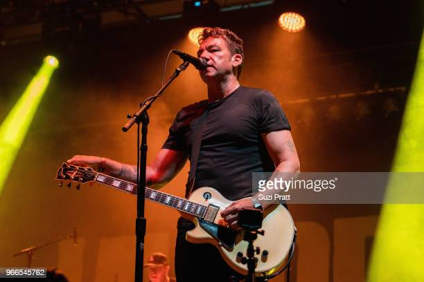 Lead vocalist and guitarist Blake Schwarzenbach of Jawbreaker performs live on stage at Upstream Music Festival in Pioneer Square on June 2 2018 in...