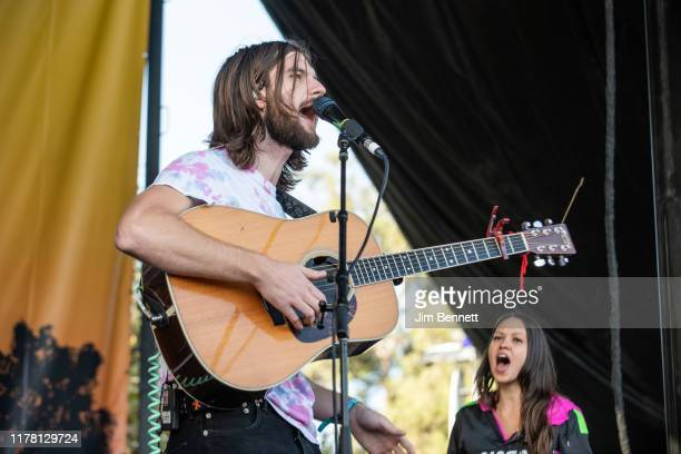 Lead vocalist and guitarist Matt Cooper and keyboardist Jackie Miclau of Mt Joy perform live during Ohana Festival at Doheny State Beach on September...