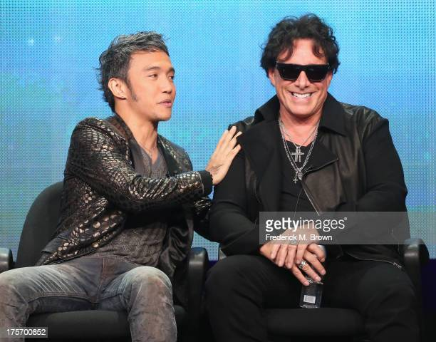 Lead vocalist Arnel Pineda and guitarist Neal Schon speak onstage during the Don't Stop Believin' Everyman's Journey panel at the PBS portion of the...