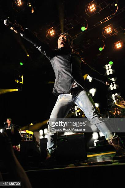 Lead vocalist Arnel Pineda of American rock group Journey performing live on stage at Wembley Arena in London on May 29 2013